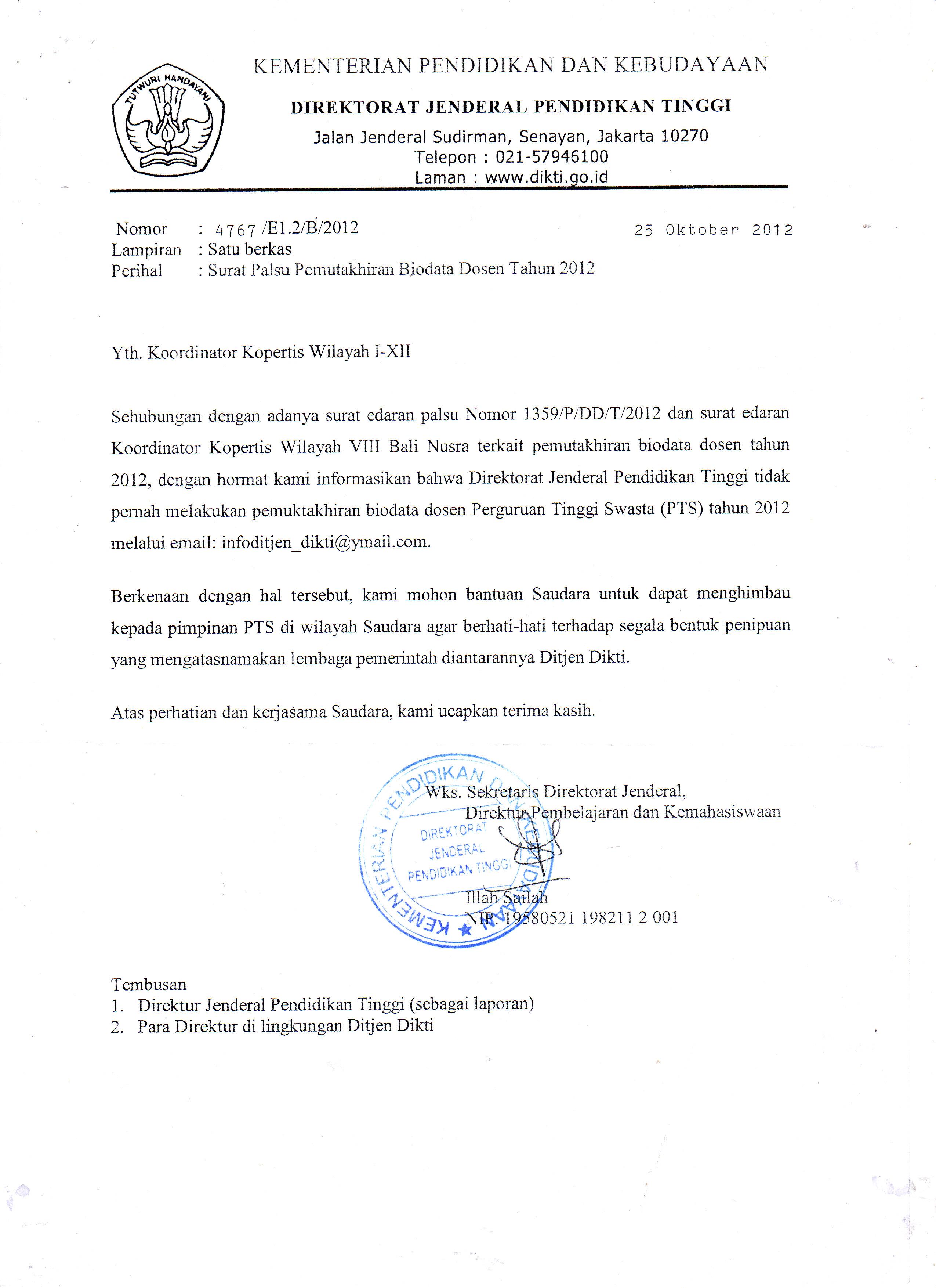 Waspadai Surat Palsu Pemutakhiran Biodata Dosen Tahun 2012